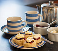 A welcome cream tea awaits guests on arrival