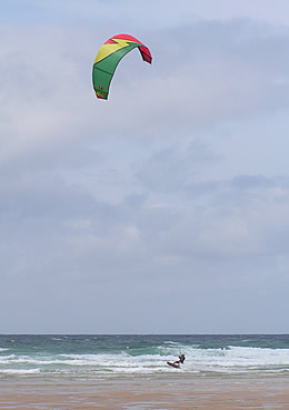 Kite surfer at Newquay beach
