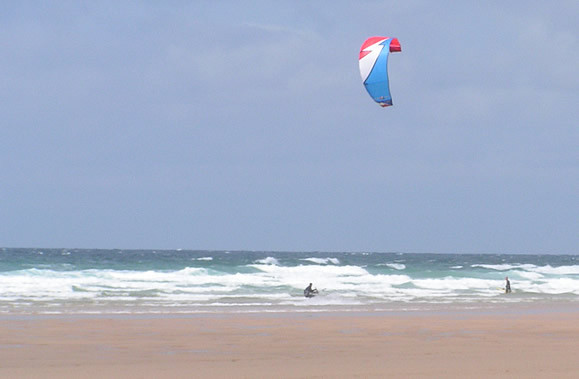 Kite surfing at Perranporth in Cornwall