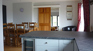 Kitchen and dining area at Penpont Mill holiday cottage