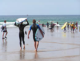 Surfing at Polzeath, Cornwall
